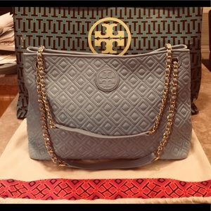 Tory Burch Baby Blue Leather Marion Chain Tote Bag